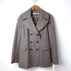 Kenneth Cole Taupe Wool Blend Peacoat